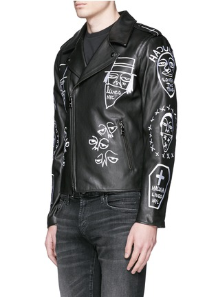 Front View - Click To Enlarge - Haculla - 'NYC Tribe' leather biker jacket