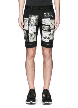 Haculla-Art patchwork appliqué denim shorts