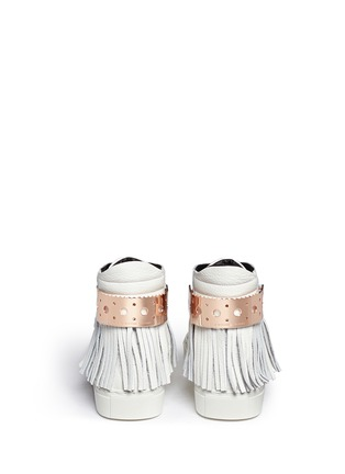 Back View - Click To Enlarge - Eugène Riconneaus - 'Calcuta' detachable metal plate fringe leather high top sneakers