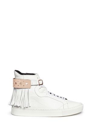 Main View - Click To Enlarge - Eugène Riconneaus - 'Calcuta' detachable metal plate fringe leather high top sneakers
