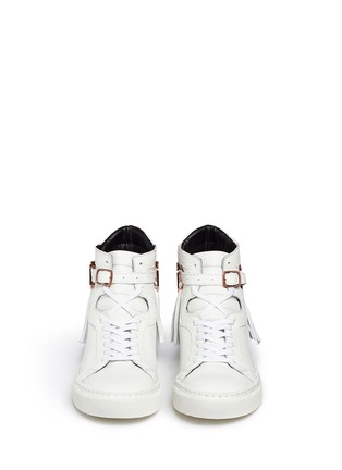 Figure View - Click To Enlarge - Eugène Riconneaus - 'Calcuta' detachable metal plate fringe leather high top sneakers