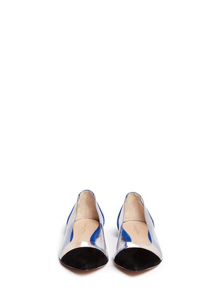 Figure View - Click To Enlarge - Gianvito Rossi - 'Plexi' clear PVC colourblock suede flats