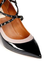 'Love Latch' caged patent leather pumps