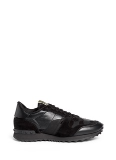 Valentino Camouflage print suede leather sneakers