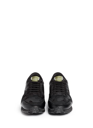 Figure View - Click To Enlarge - Valentino - Camouflage print suede leather sneakers
