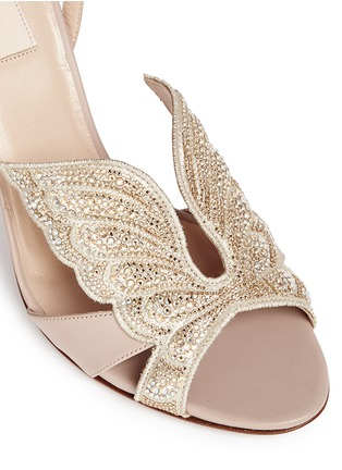 Detail View - Click To Enlarge - Valentino - 'Angelicouture' angel wing crystal leather sandals