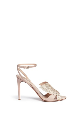 Main View - Click To Enlarge - Valentino - 'Angelicouture' angel wing crystal leather sandals