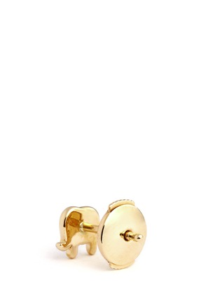 Back View - Click To Enlarge - Loquet London - 14k yellow gold elephant single earring - Happiness