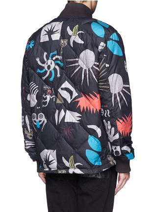 Back View - Click To Enlarge - Paul Smith - Tribal print quilted down bomber jacket