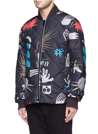 Front View - Click To Enlarge - Paul Smith - Tribal print quilted down bomber jacket