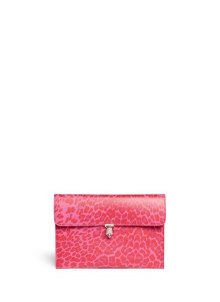 Main View - Click To Enlarge - Alexander McQueen - Skull twist lock leopard print leather clutch