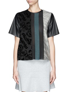 MO&CO. EDITION 10 Velvet flock patchwork faux leather T-shirt