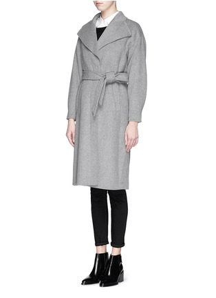 Front View - Click To Enlarge - MO&CO. EDITION 10 - Felt wool wrap coat