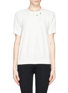 MO&CO. EDITION 10Ruche neckline crepe top