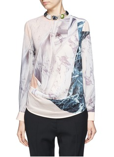 MO&CO. EDITION 10 Jewel neckline sheer marble print shirt