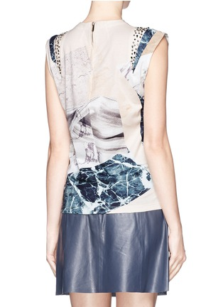 Back View - Click To Enlarge - MO&CO. EDITION 10 - Marble print jewel cap sleeve T-shirt