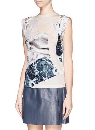 Front View - Click To Enlarge - MO&CO. EDITION 10 - Marble print jewel cap sleeve T-shirt