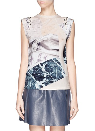 Main View - Click To Enlarge - MO&CO. EDITION 10 - Marble print jewel cap sleeve T-shirt