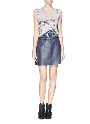 Figure View - Click To Enlarge - MO&CO. EDITION 10 - Marble print jewel cap sleeve T-shirt