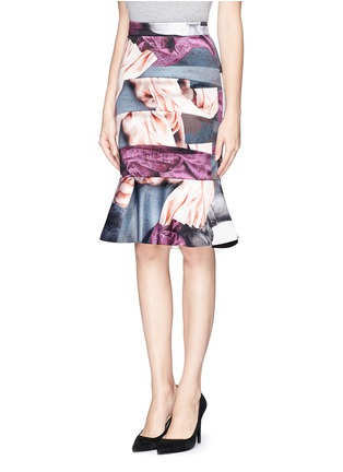 Front View - Click To Enlarge - MO&CO. EDITION 10 - Fabric print satin trumpet skirt