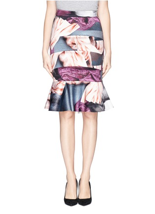 Main View - Click To Enlarge - MO&CO. EDITION 10 - Fabric print satin trumpet skirt