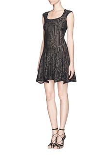 RVN'Modern Lace' jacquard flare dress