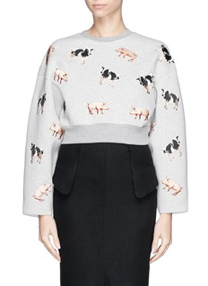 CHICTOPIA Cow and pig embroidery cropped sweatshirt