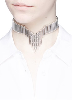 Eddie Borgo 'Twill Baguette' cubic zirconia notched pendant ribbon choker