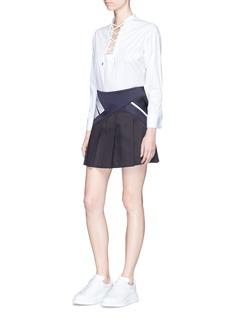 Neil BarrettColourblock stripe pleated mini skirt