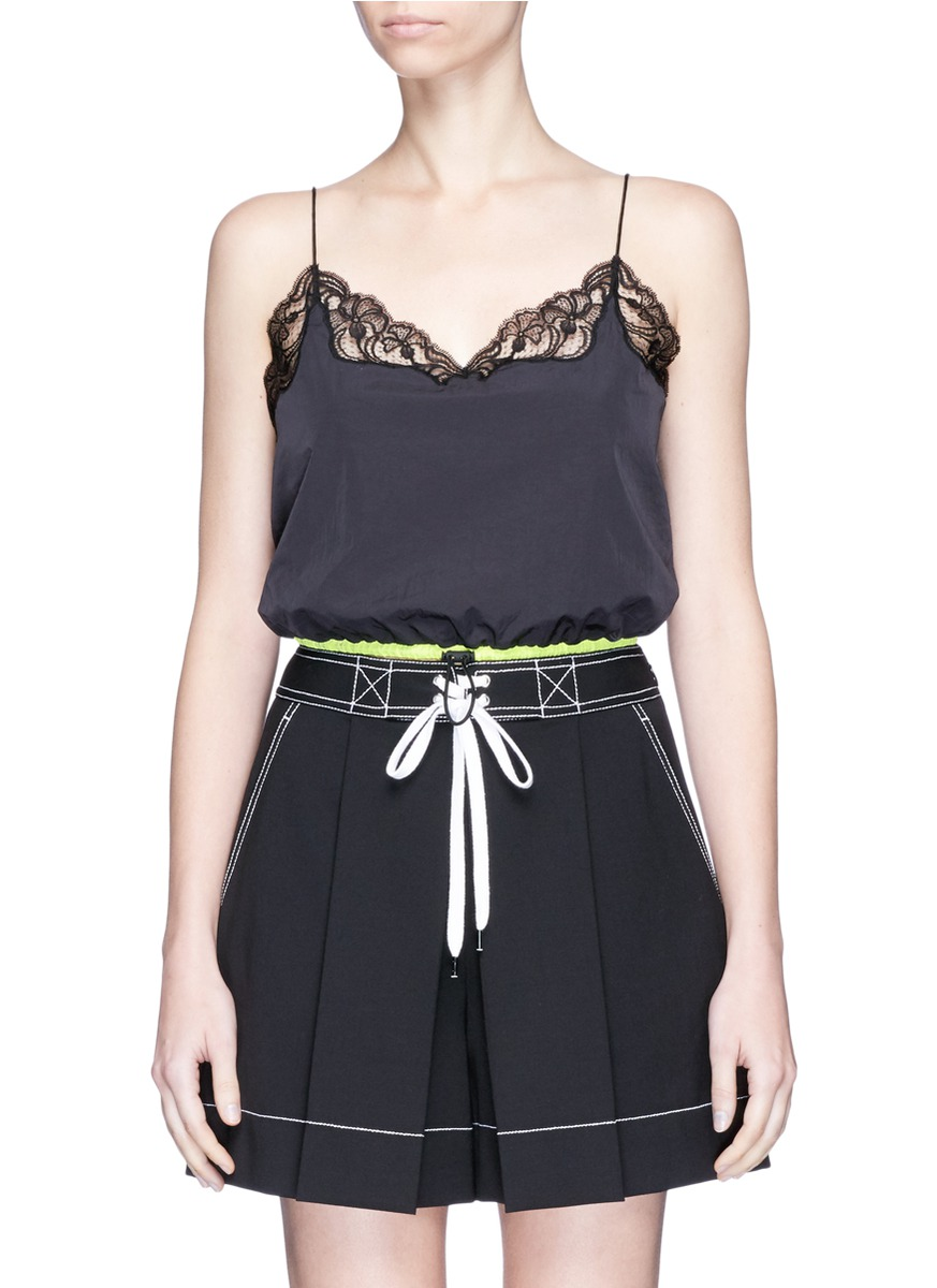 Drawcord hem lace trim cropped windbreaker camisole by Alexander Wang
