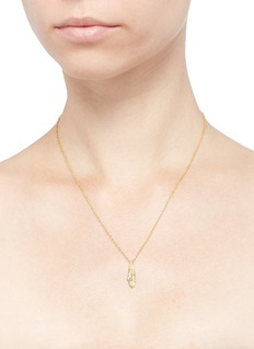 Pamela Love 'Frida' diamond feather pendant 18k gold necklace