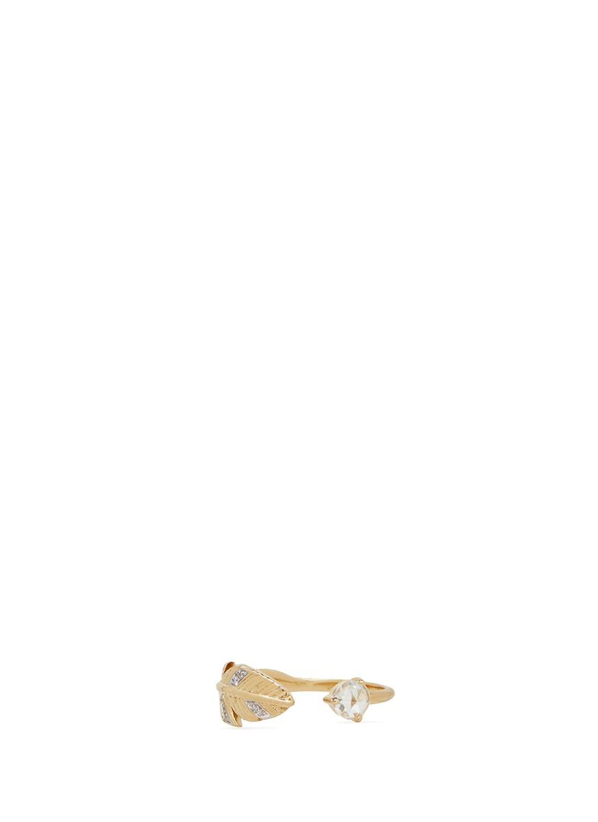 Frida diamond 18k gold feather ring by Pamela Love