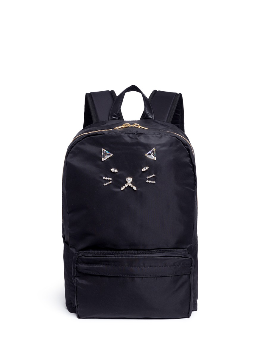 Strass cat face nylon backpack by Tu Es Mon Trésor