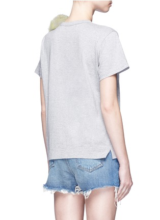 Back View - Click To Enlarge - Tu Es Mon Trésor - Fur pom pom jersey T-shirt