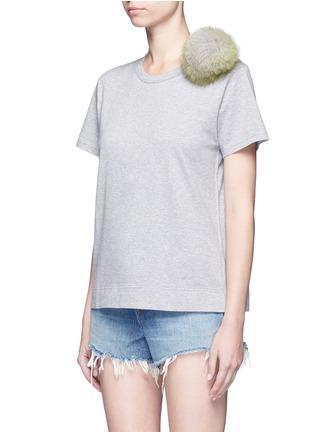 Front View - Click To Enlarge - Tu Es Mon Trésor - Fur pom pom jersey T-shirt