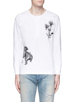 'Violet' tiger embroidery Henley shirt