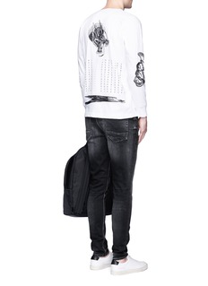 Saam1 'Sweet Pea' dragon embroidery Henley shirt