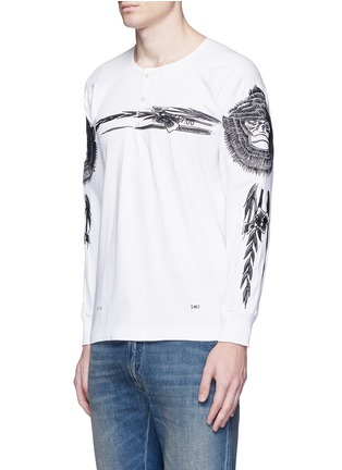 Front View - Click To Enlarge - Saam1 - 'Gladiolus' monkey embroidery Henley shirt