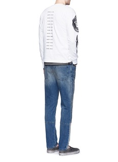Saam1'Gladiolus' monkey embroidery Henley shirt