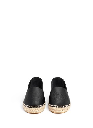 Front View - Click To Enlarge - KENZO - Embossed tiger head leather espadrille slip-ons