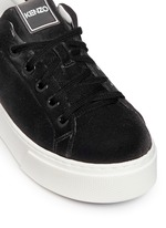 Leather trim velvet platform sneakers