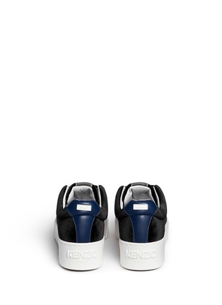 Back View - Click To Enlarge - KENZO - Leather trim velvet platform sneakers