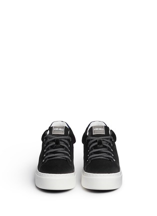 Front View - Click To Enlarge - KENZO - Leather trim velvet platform sneakers