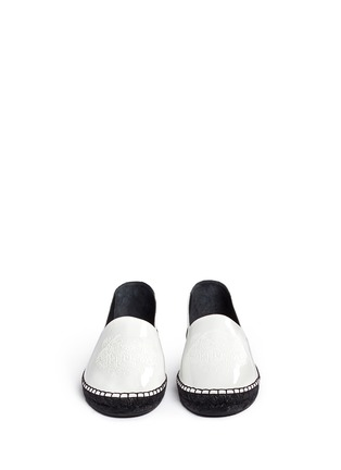 Front View - Click To Enlarge - KENZO - Embossed tiger head patent espadrille slip-ons