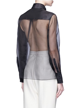 Back View - Click To Enlarge - DELPOZO - Geometric print bib silk organza shirt