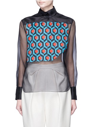 Main View - Click To Enlarge - DELPOZO - Geometric print bib silk organza shirt