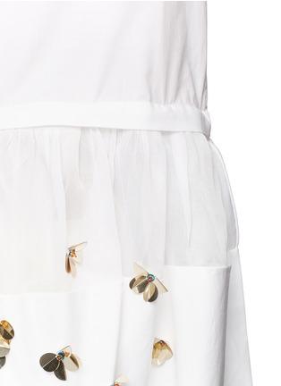 - DELPOZO - Floral sequin mesh peplum hem shirt