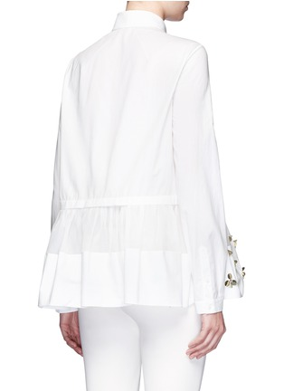 Back View - Click To Enlarge - DELPOZO - Floral sequin mesh peplum hem shirt