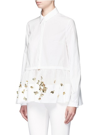 Front View - Click To Enlarge - DELPOZO - Floral sequin mesh peplum hem shirt