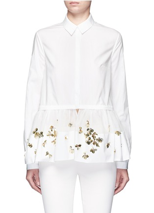 Main View - Click To Enlarge - DELPOZO - Floral sequin mesh peplum hem shirt
